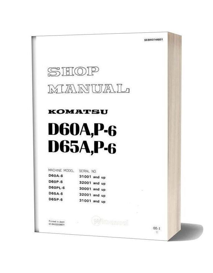 Komatsu Bulldozers D60pl 6 Shop Manual