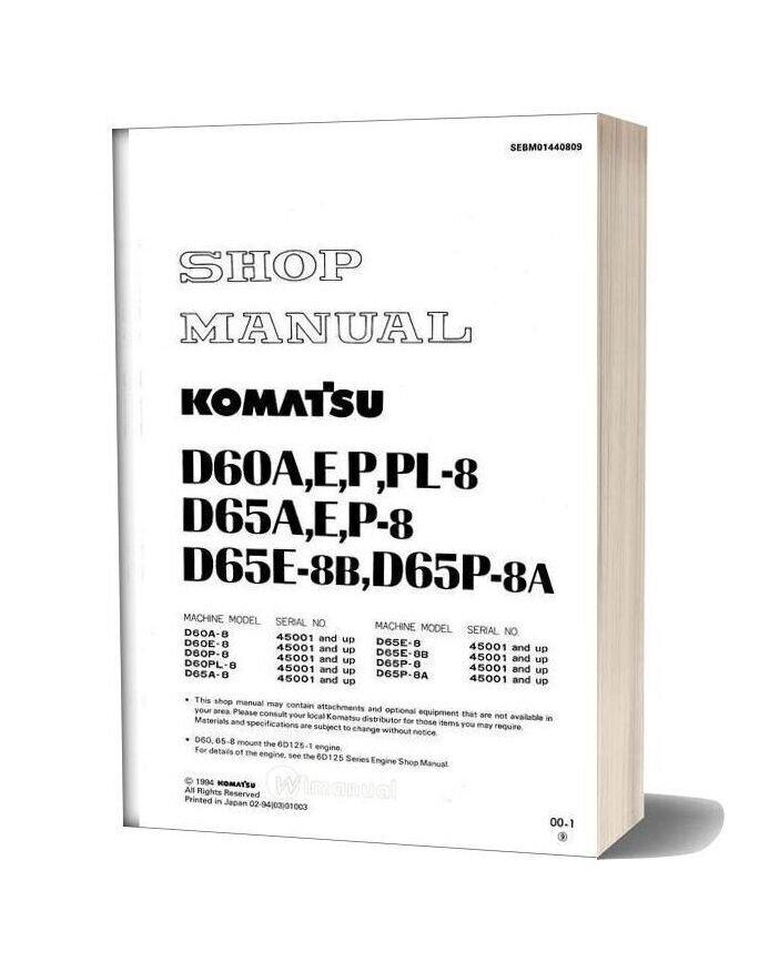 Komatsu Bulldozers D60pl 8 Shop Manual
