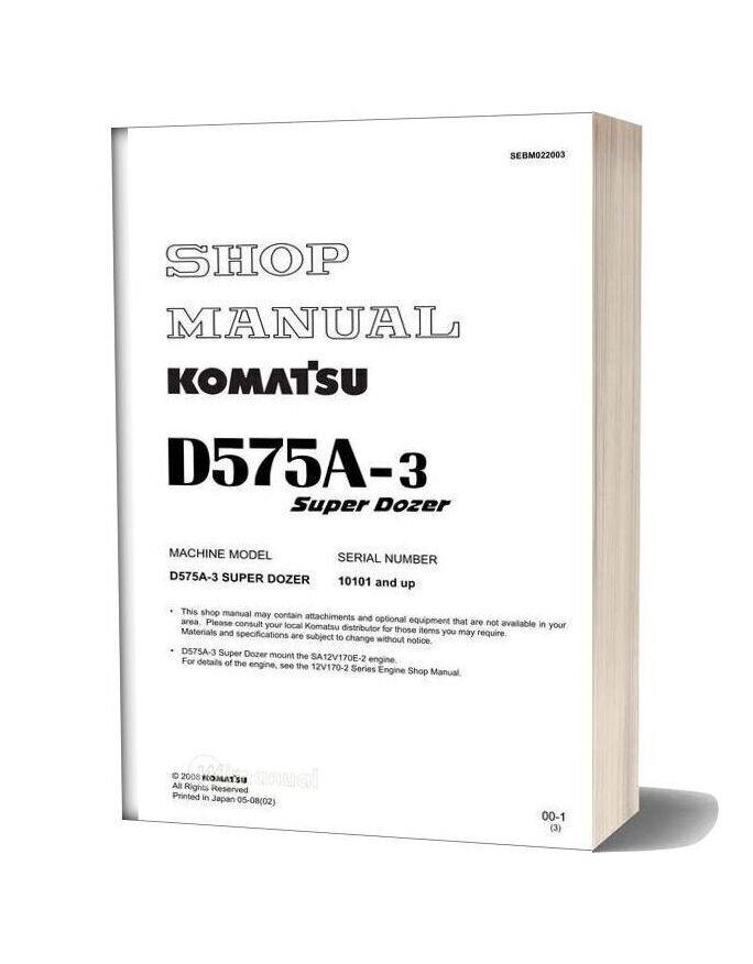 Komatsu Crawler Doozer D575a 3s Shop Manual