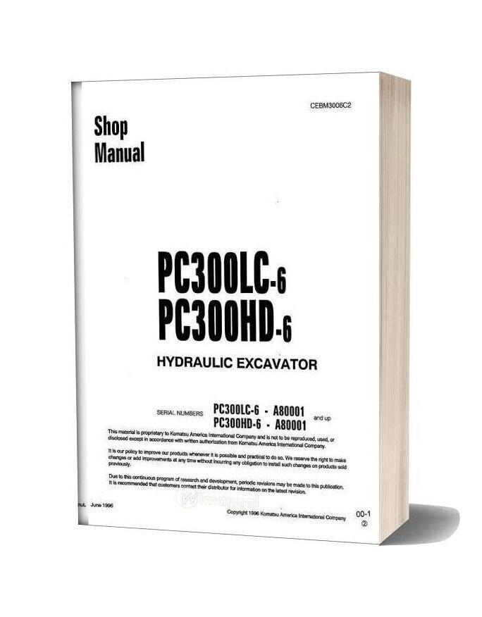 Komatsu Crawler Excavator Pc300 6hd Shop Manual
