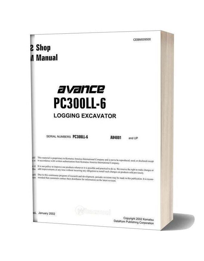 Komatsu Crawler Excavator Pc300ll 6 Shop Manual