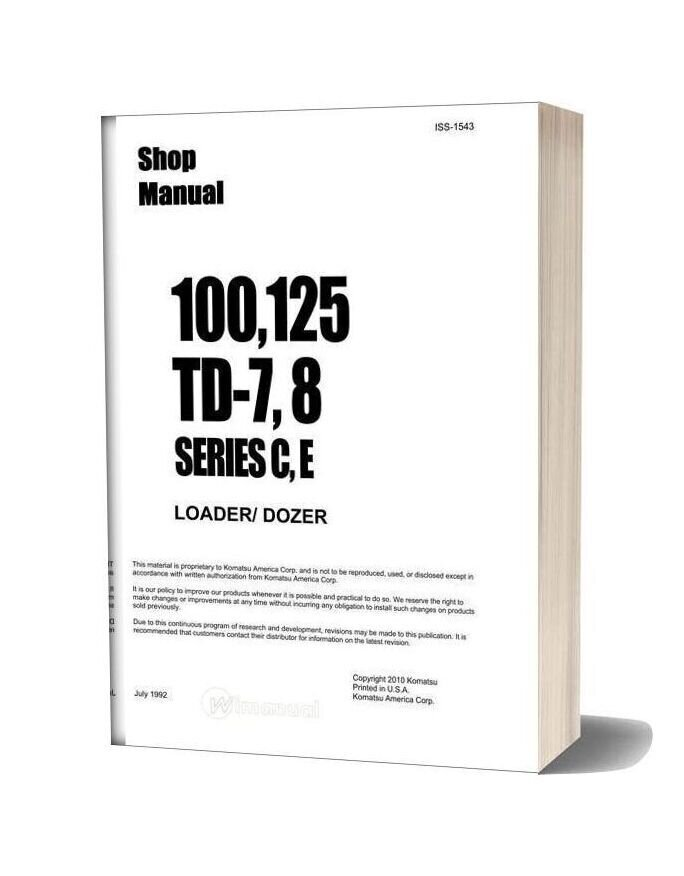 Komatsu Crawler Loader 100 125 Td 7 8 Series C E Shop Manual