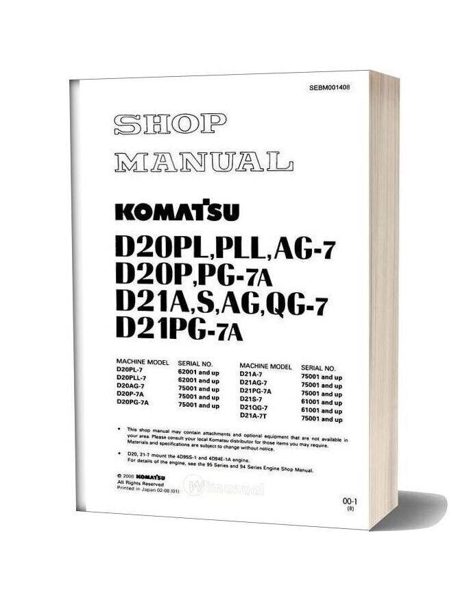 Komatsu Crawler Loader D21s 7 Shop Manual