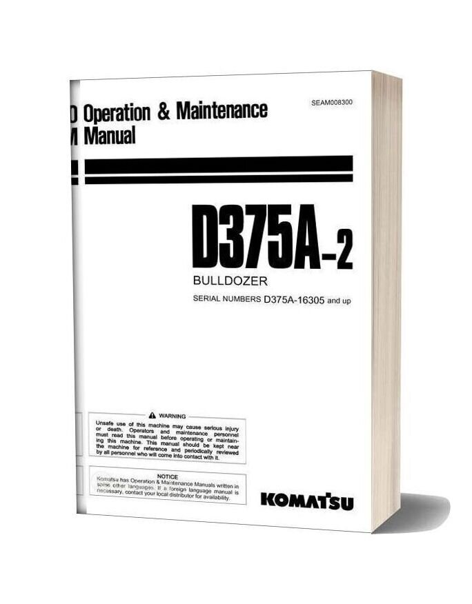 Komatsu D375a 2 Operation Maintenance Manual