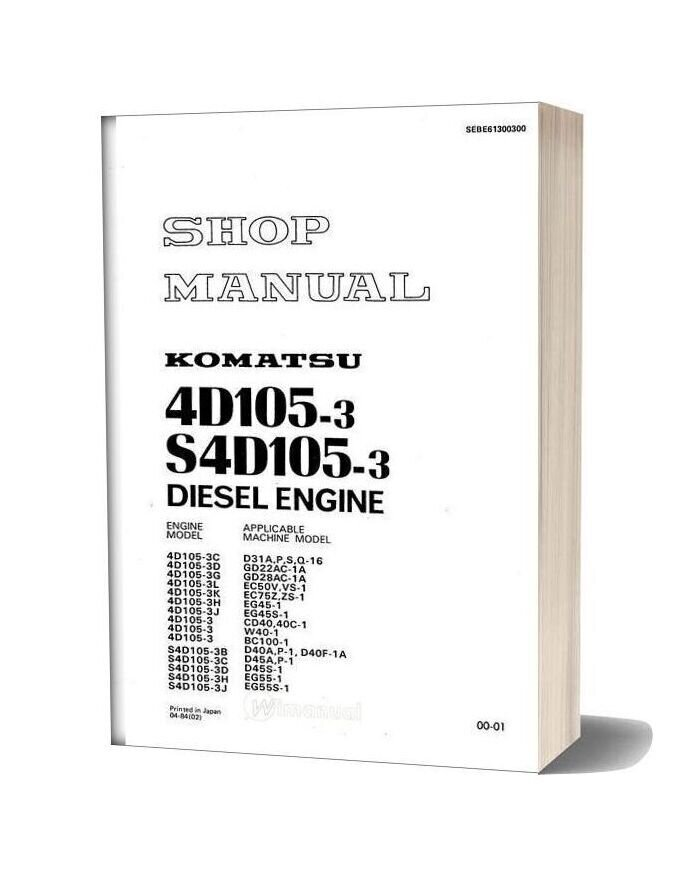 Komatsu Engine 4d105 3 Workshop Manuals