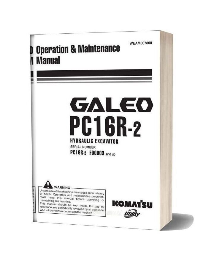 Komatsu Hydraulic Excavator Pc16r 2 Operation Maintenance Manual