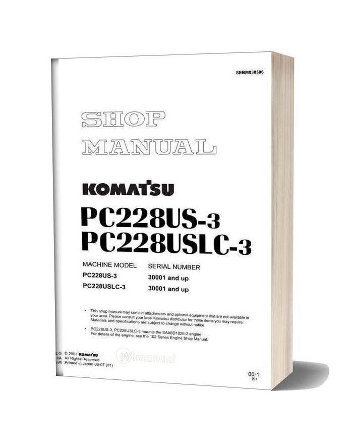 Komatsu Hydraulic Excavator Pc228 Us 3 Shop Manual