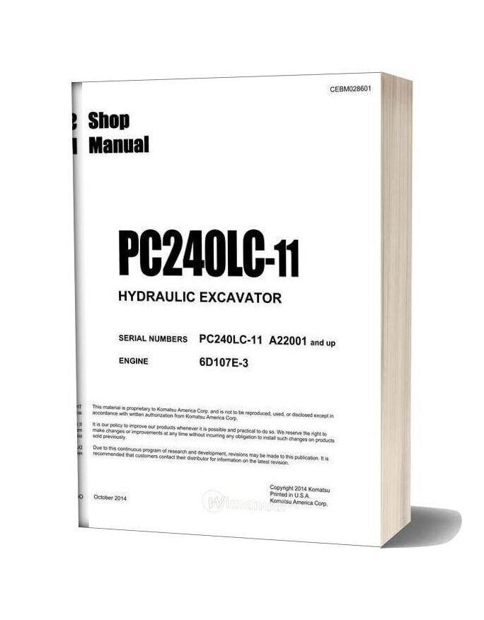 Komatsu Hydraulic Excavator Pc240lc 11 Usa Shop Manual