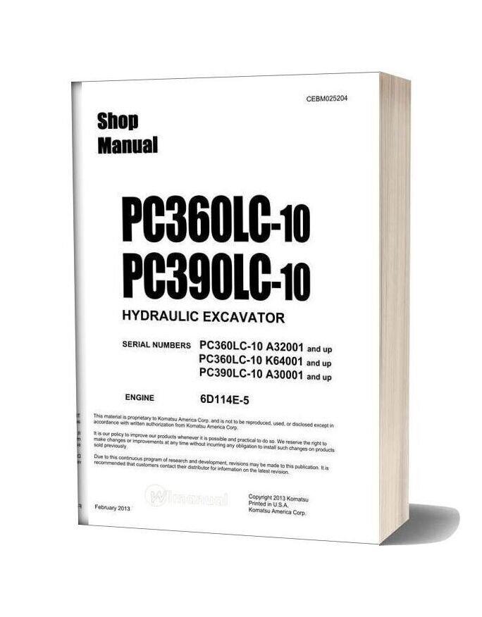Komatsu Hydraulic Excavator Pc360lc 390lc 10 Shop Manual