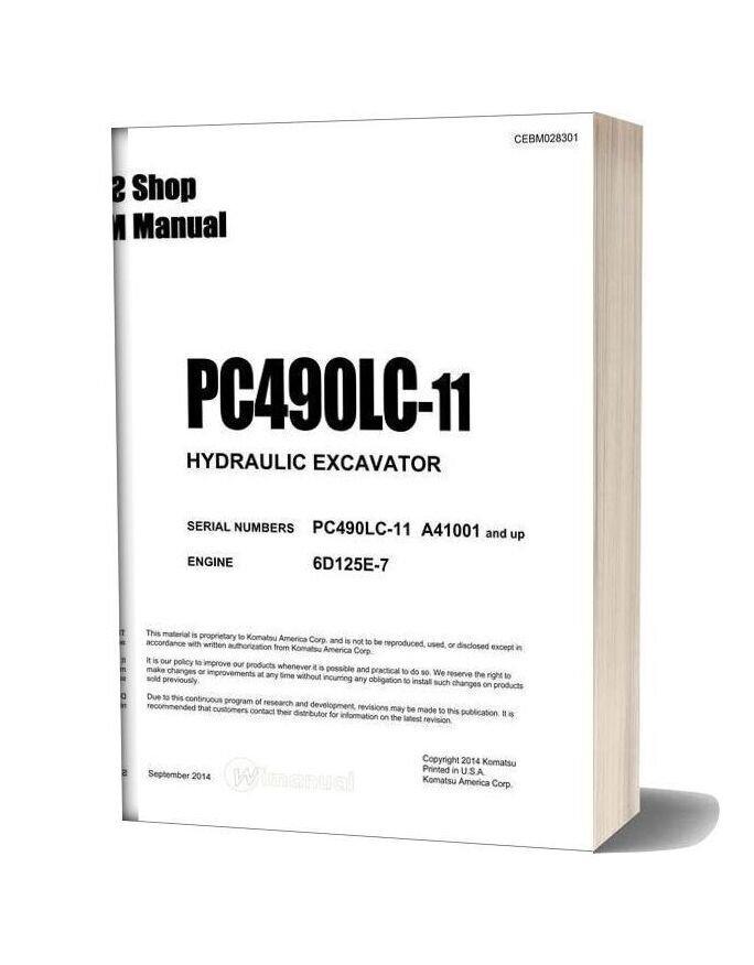 Komatsu Hydraulic Excavator Pc490lc 11 Usa Shop Manual