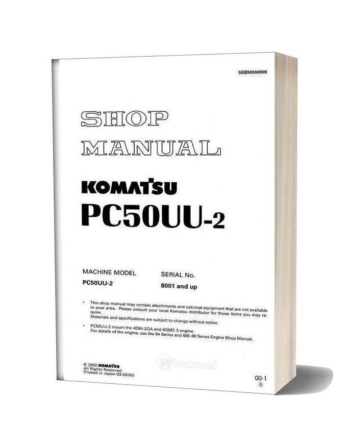 Komatsu Hydraulic Excavator Pc50uu 2 Shop Manual