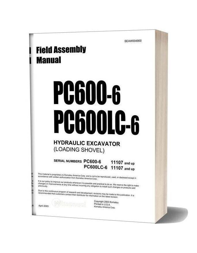Komatsu Hydraulic Excavator Pc600 6f Field Assembly Instruction