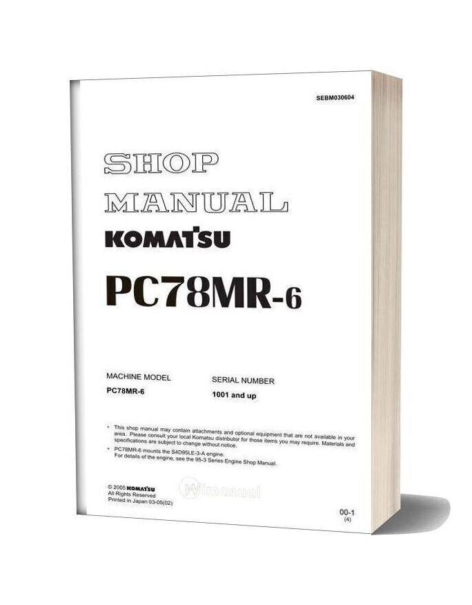 Komatsu Hydraulic Excavator Pc78mr 6 Shop Manual