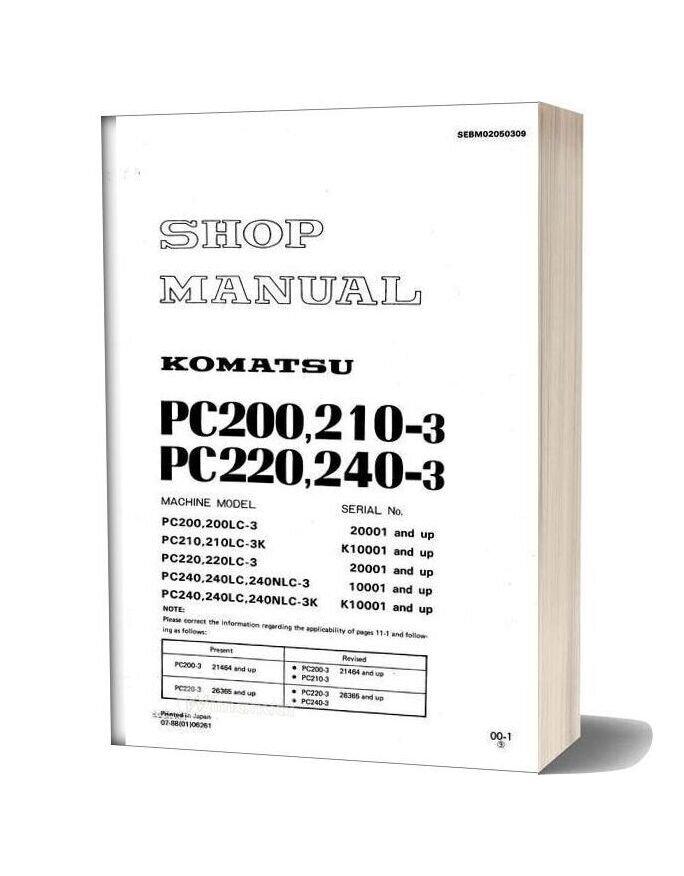 Komatsu Pc210 3 Pc200 Pc220 Pc240 3 Workshop Manual