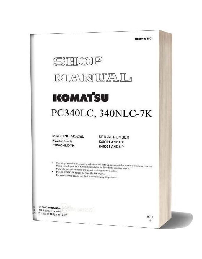 Komatsu Pc340lc 340nlc 7k Shop Manual