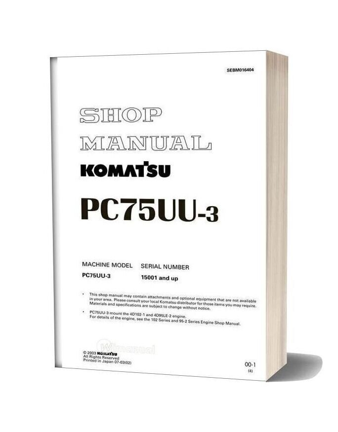 Komatsu Pc75uu 3 Shop Manual