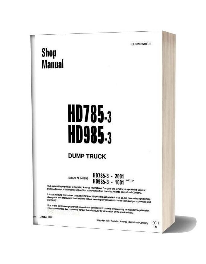 Komatsu Rigid Dump Trucks Hd985 3 Shop Manual