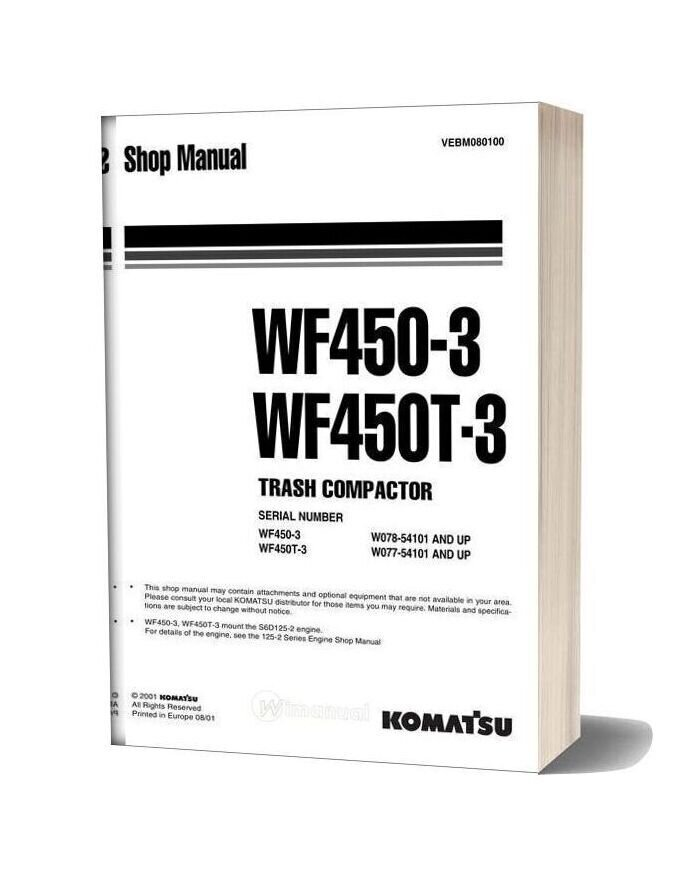 Komatsu Trash Compactors Wf450t 3 Workshop Manuals