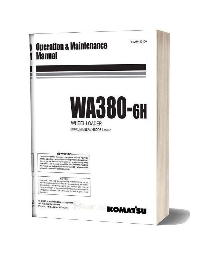 Komatsu Wa380 6h Operation Maintenance Manual