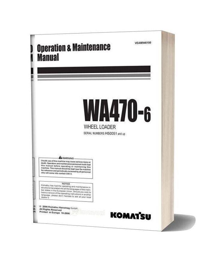 Komatsu Wa470 6 Operation Maintenance Manual