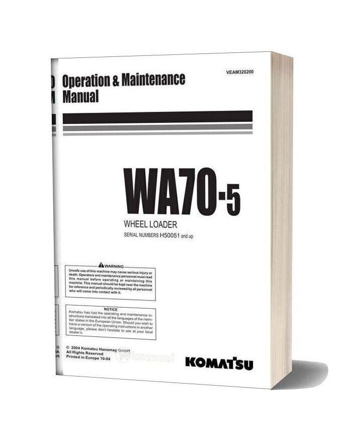 Komatsu Wa70 5 Operation Maintenance Manual