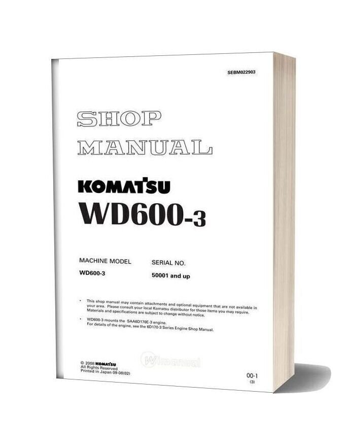 Komatsu Wheel Dozers Wd600 3 Workshop Manuals