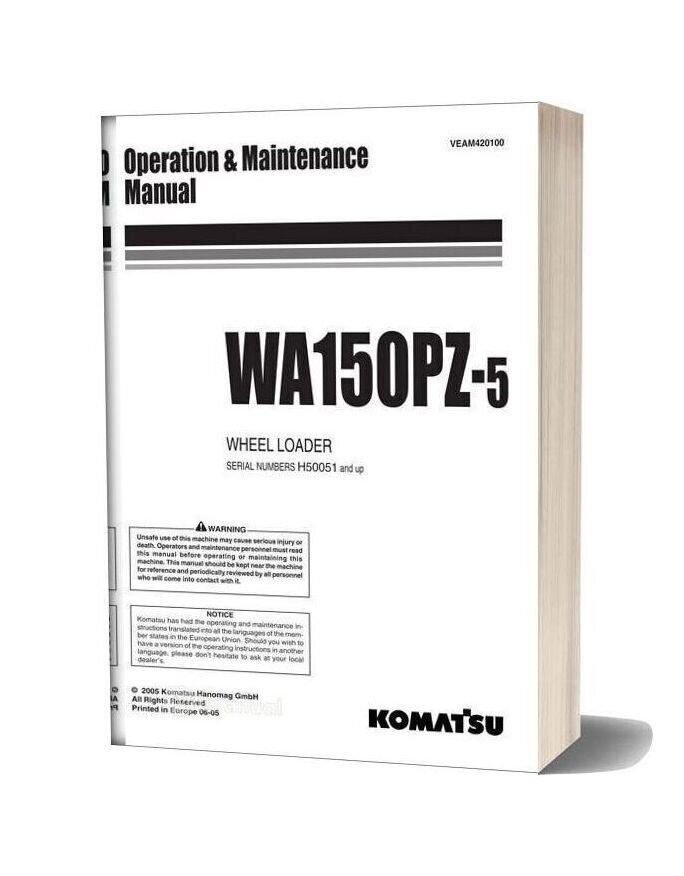 Komatsu Wheel Loader Wa150pz 5 Operation And Maintenance Manual