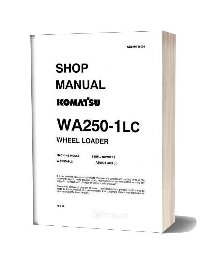 Komatsu Wheel Loader Wa250 1lc Shop Manual