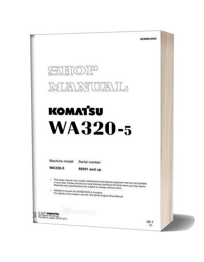 Komatsu Wheel Loader Wa320 5 Shop Manual