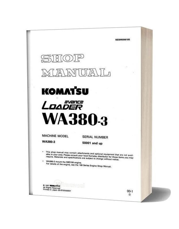 Komatsu Wheel Loader Wa380 3 Shop Manual