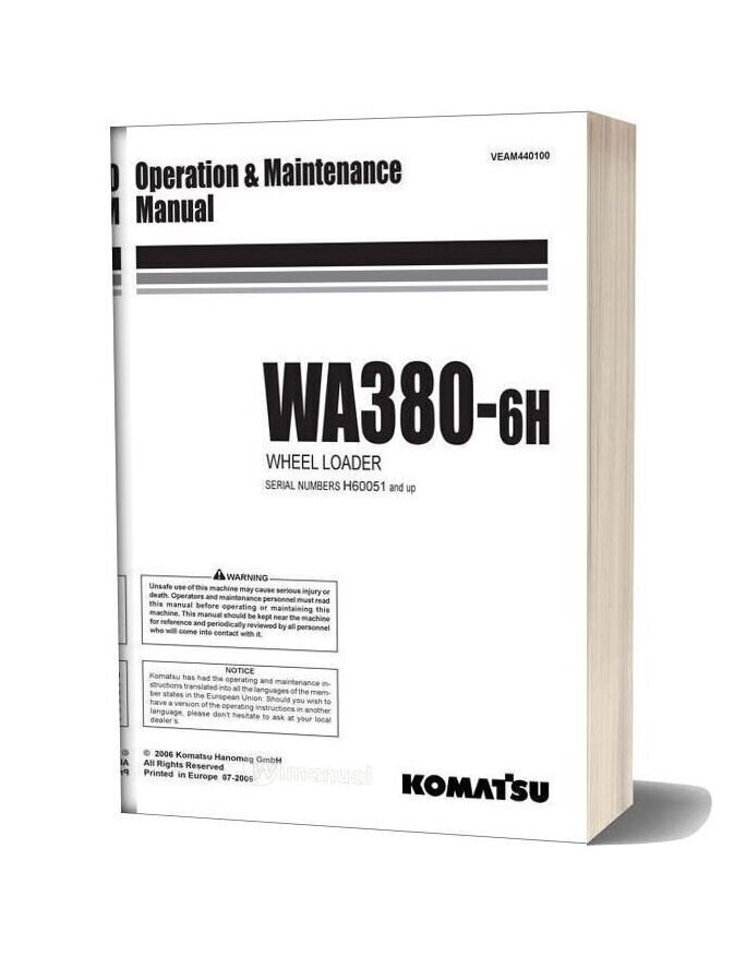 Komatsu Wheel Loader Wa380 6 Operation And Maintenance Manual