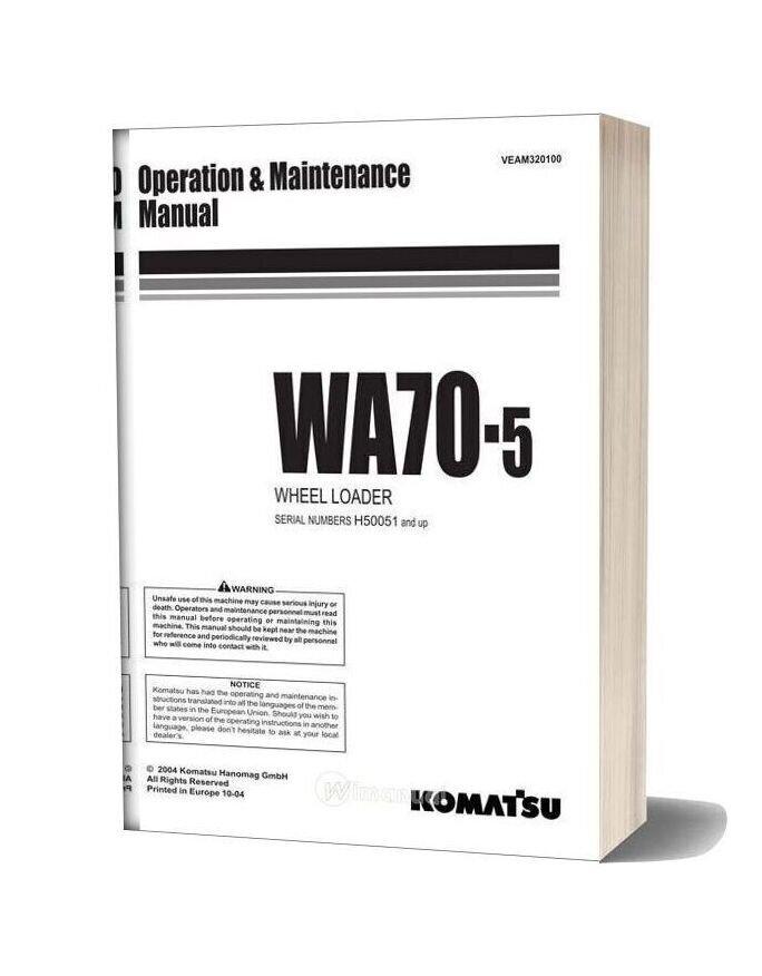 Komatsu Wheel Loader Wa70 5 Operation And Maintenance Manual