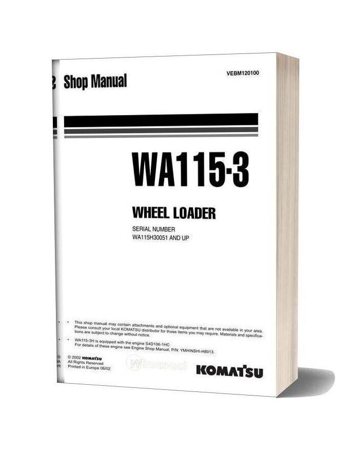 Komatsu Wheel Loaders Wa115 3 Shop Manual