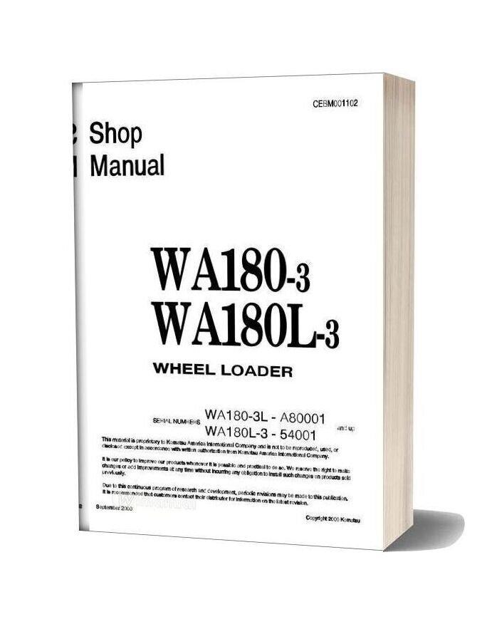 Komatsu Wheel Loaders Wa180l 3 Shop Manual