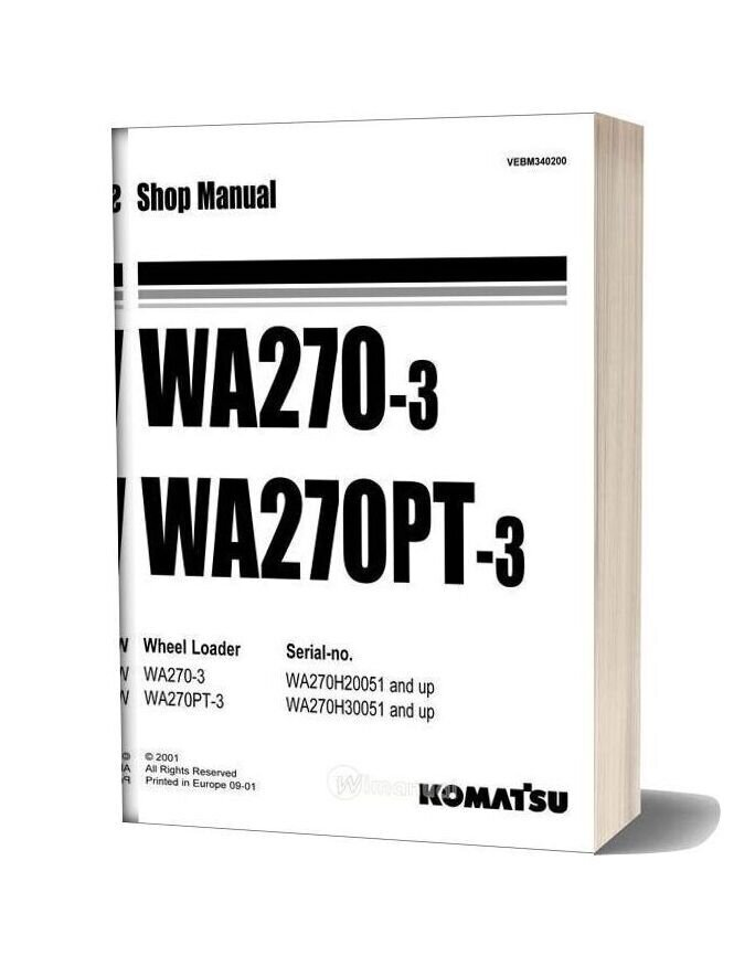 Komatsu Wheel Loaders Wa270 3 Shop Manual