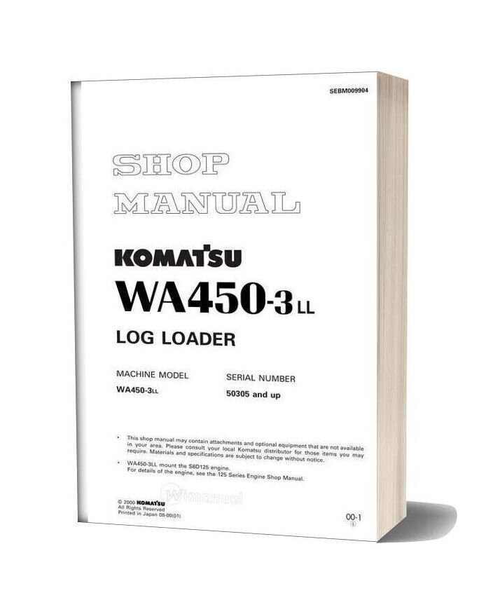 Komatsu Wheel Loaders Wa450 3 Shop Manual