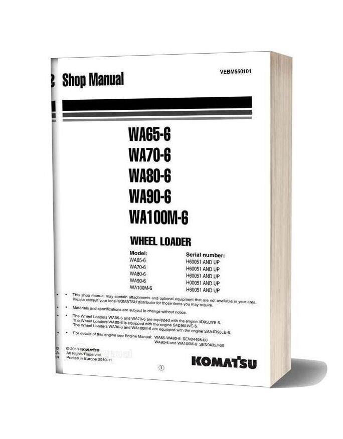 Komatsu Wheel Loaders Wa65 6 Shop Manual