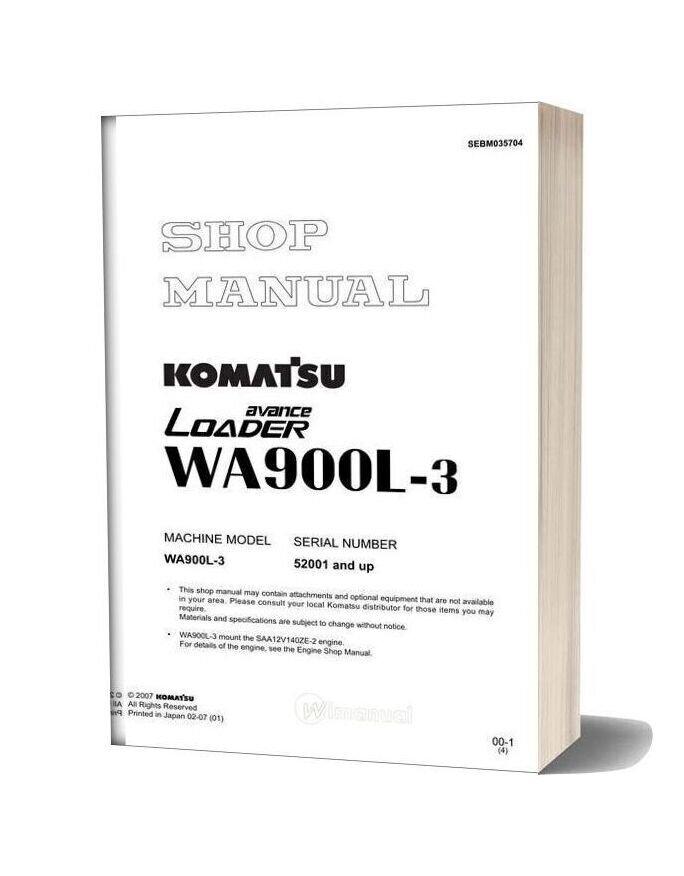 Komatsu Wheel Loaders Wa900l 3 Shop Manual