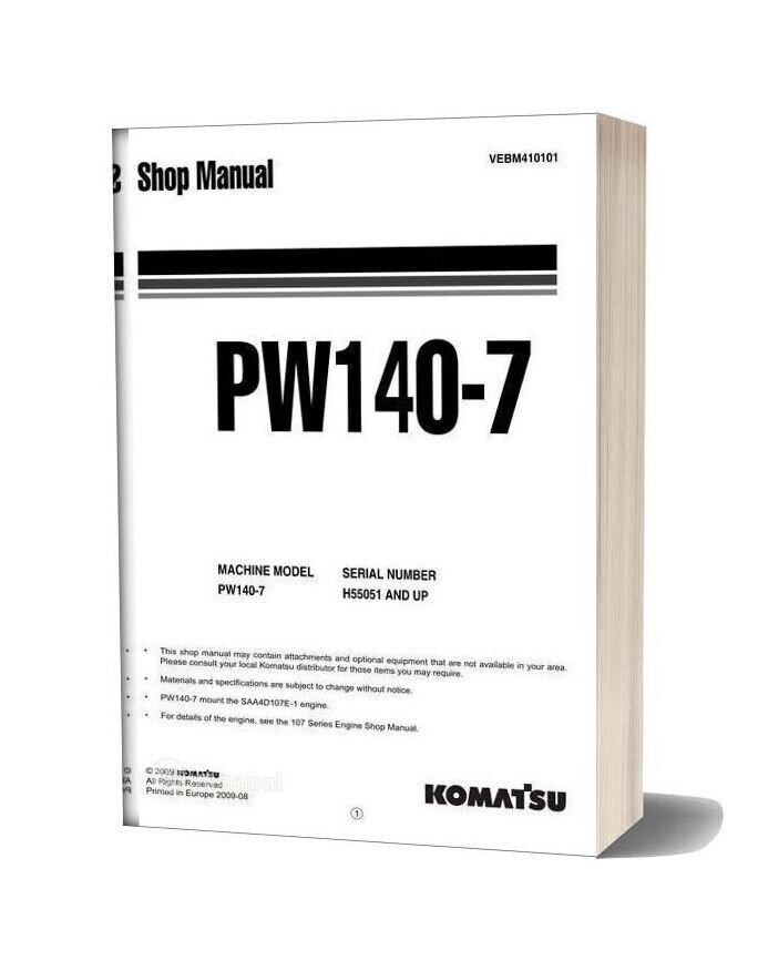 Komatsu Wheeled Excavators Pw140 7 Shop Manual