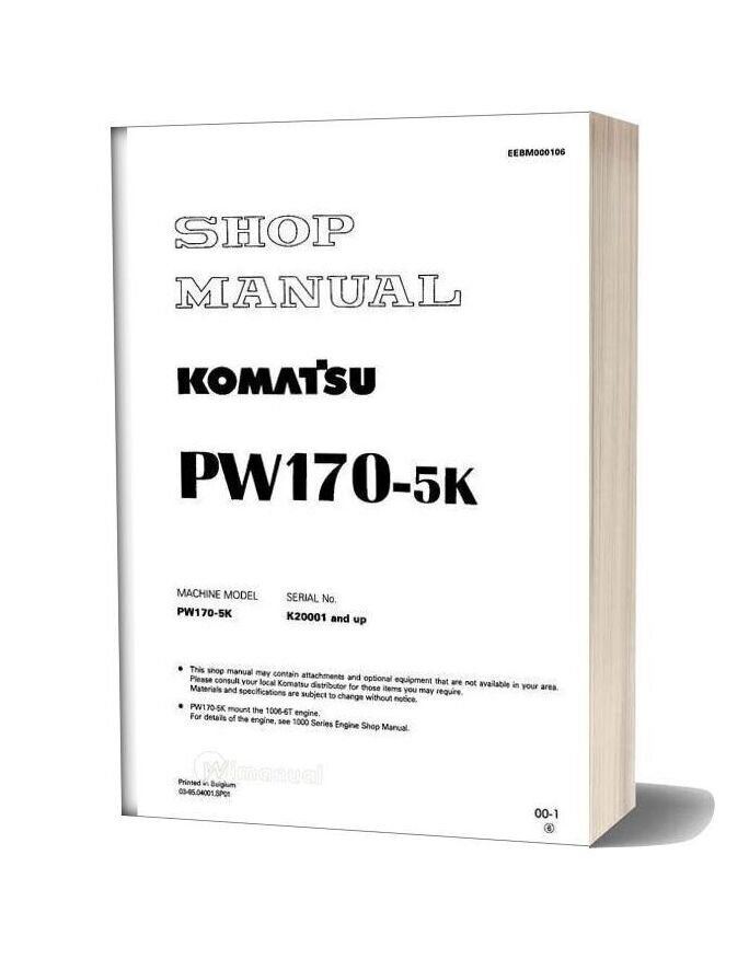 Komatsu Wheeled Excavators Pw170 5 Shop Manual