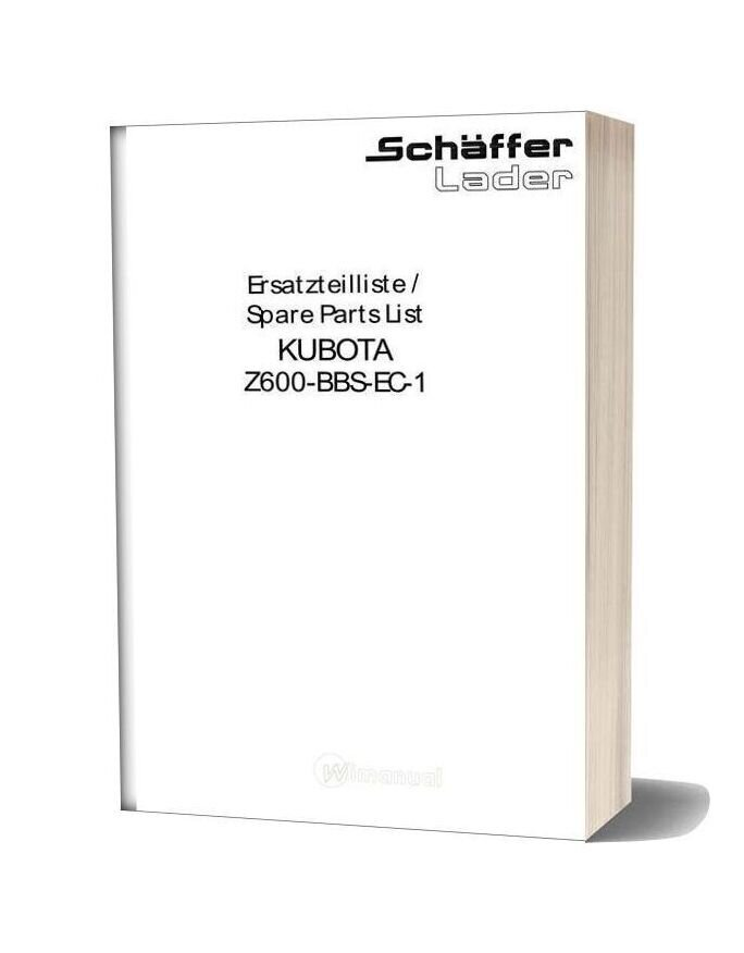 Kubota Engine Z600 Bbs Parts Manual