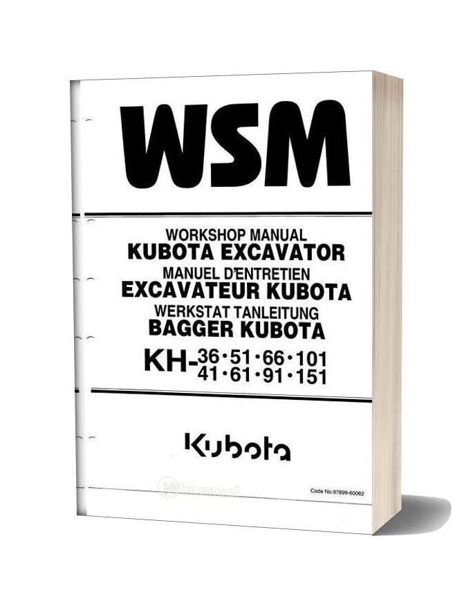 Kubota Excavator Kh 36 151 Workshop Manual