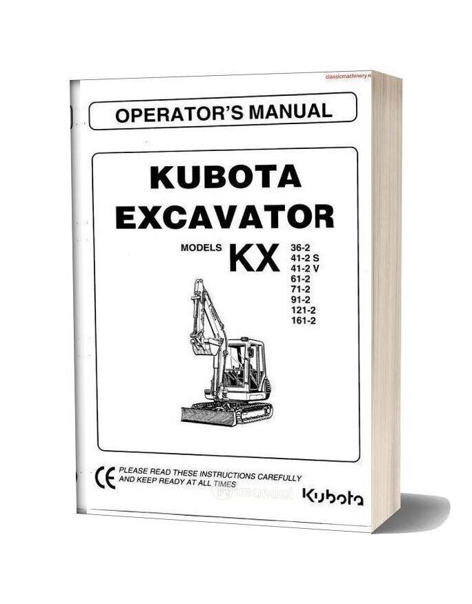 Kubota Kx Series Instructions