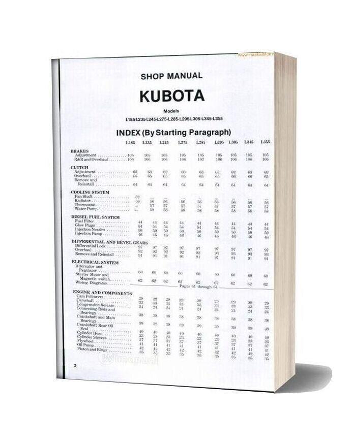 Kubota L185 L355 Shopmanual