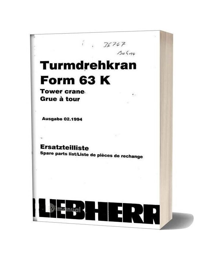 Liebherr 63k Tower Crane Spare Parts