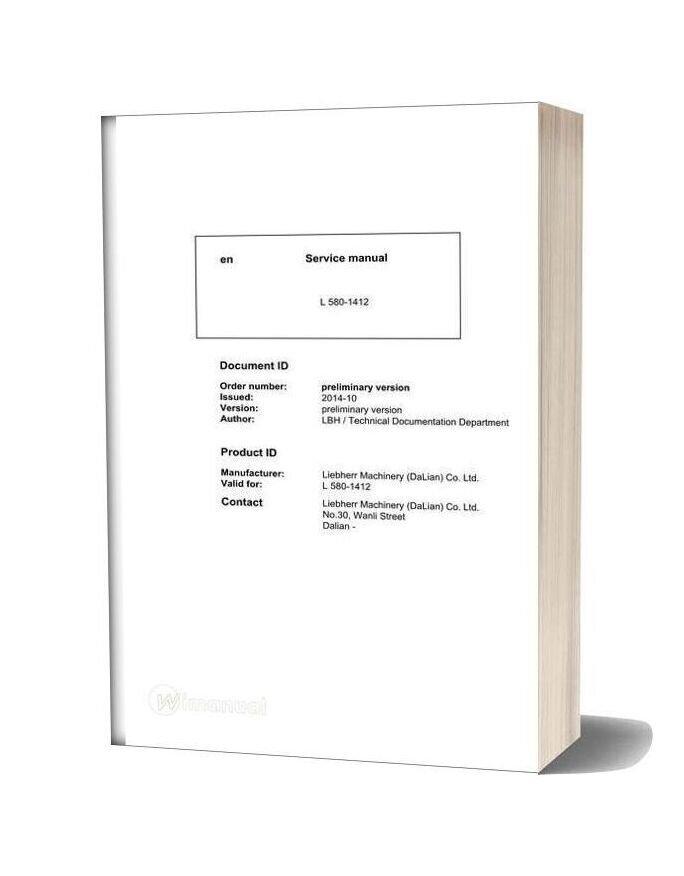 Liebherr L580 1412 Service Manual