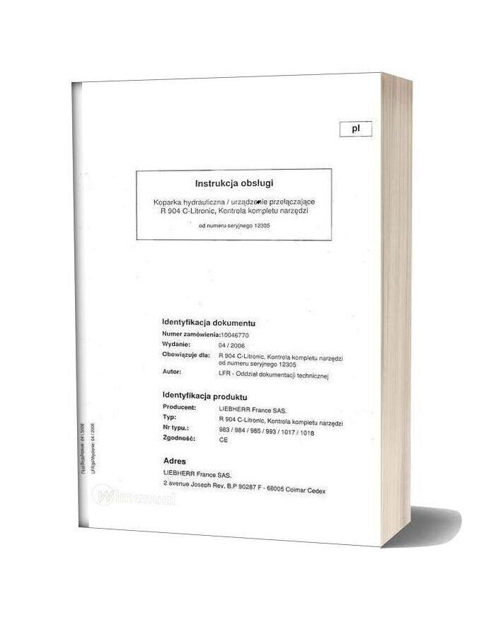 Liebherr R904 C Service Manual Polish