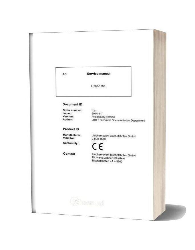 Liebherr Wheel Loader L508 1580 Service Manual