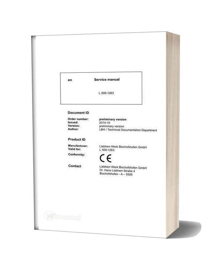 Liebherr Wheel Loader L509 1263 Service Manual