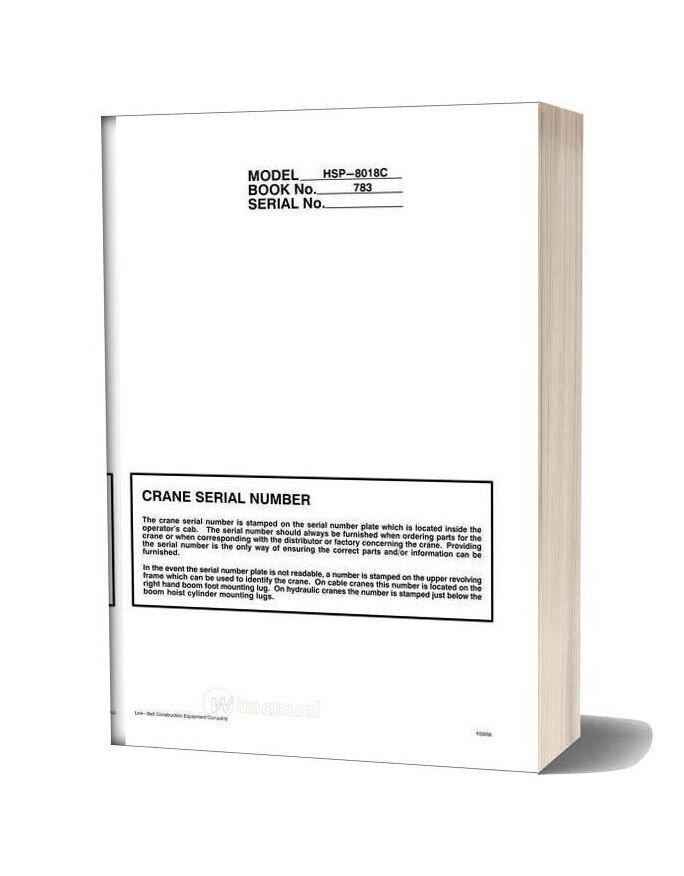 Linkbelt Crane Model Hsp 8018c Shop Manual